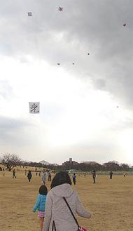 手づくりの凧が冬空に揚がった〈海老名市提供〉