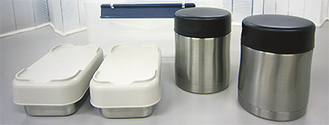 代替え給食は専用の容器に収められ提供される〔海老名市提供〕