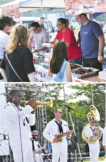 米軍BBQ(上)と、第7艦隊音楽隊(写真は昨年)