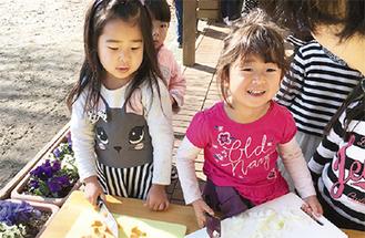 器用に包丁を握る園児たち