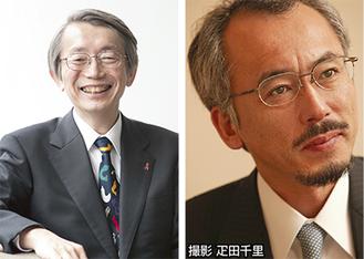 講演を行う水谷修氏(右)と岩室紳也氏