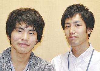矢野君(左)と担任の向田先生