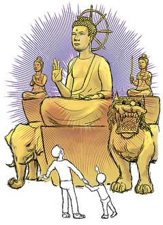 展示される「釈迦三尊像」のイメージ