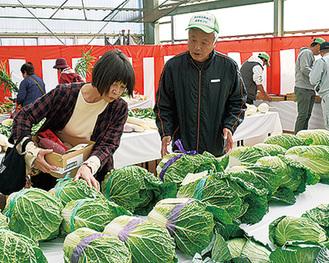 新鮮野菜が並んだ