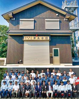 新らしい消防器具置き場と落成記念式典の出席者