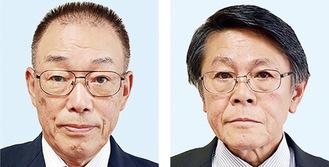 議長に選出された福地氏(右)と副議長の市川氏