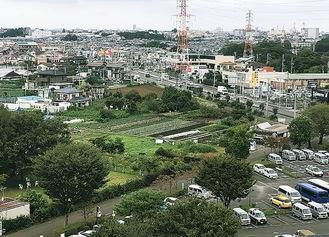 市役所北側の建設予定地(写真中央)