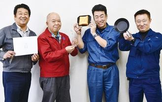 研究会で切磋琢磨する町工場の社長4人左から野口さん、佐野さん、嶋さん、今さん
