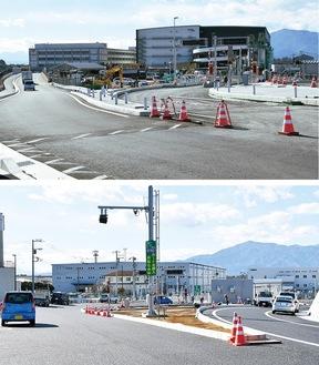 開通する綾瀬スマートICの出入口。上は東京方面、下は名古屋方面(車は工事関係車両)=17日