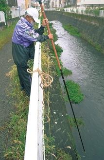 棒を使って川のゴミを引き上げる多賀さん
