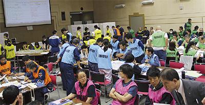 大地震に備え訓練