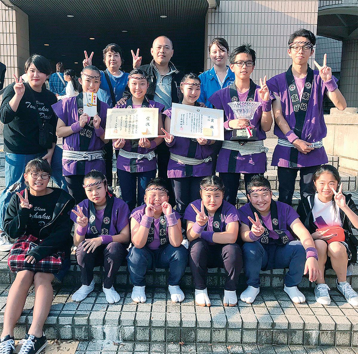 県優勝した東柏太鼓のメンバー