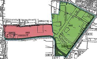 第1街区と第2街区にわけて開発される(※市ホームページより抜粋)