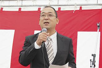 7社が加盟する団地について「一枚岩」と紹介した比留川理事長