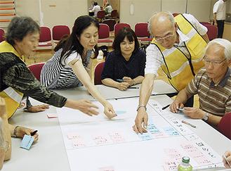 災害発生後の行動について話し合う参加者