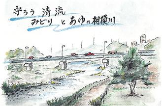 海老名の公園から臨んだ相模川の風景。標語にこだわった