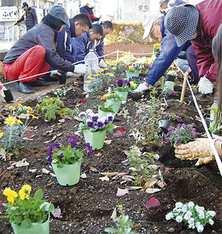 地域住民が集まって花を植えた