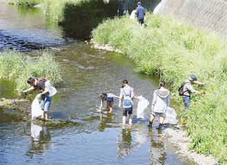 川の中に入って、清掃する参加者たち