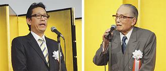 病院の歴史を振り返りながら将来を展望した山上会長(右)と山上理事長