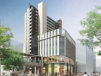 20階建と5階建のビルを建設する予定※イメージ
