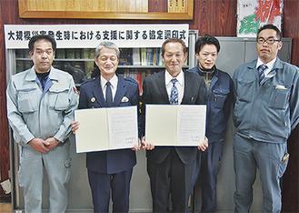 調印した倉持署長(左から2番目)と上野理事長(中央)