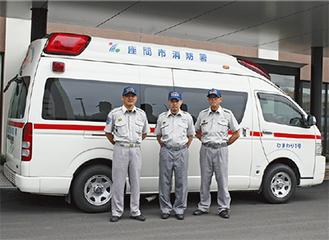 院内に救急隊員が待機