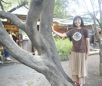 園長の大島さん。手を添えるあんずの木は、長いこと園児を見守ってきた園のシンボル