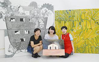 右から伊藤さん、西川さん、米田さんとそれぞれの作品