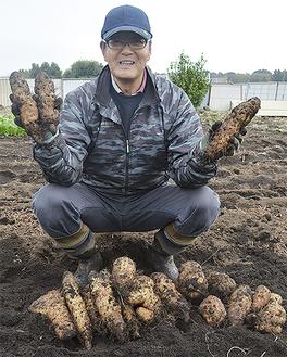 大和芋を手にする曽根組合長