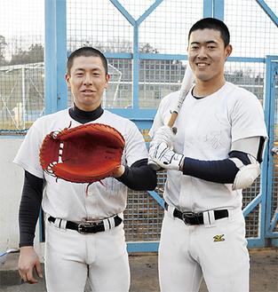 四番打者の重責を担う大塚選手(右)、正捕手の齊藤選手