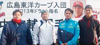 左から次男の洋平さん、正行さん、広輔さん、俊太さん=田中さん提供