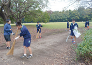芹沢公園を清掃