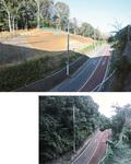施工前(写真下)と比べ斜面が緩やかになった県道42号線(写真上=谷戸山公園南側)歩道の拡幅も行われる。