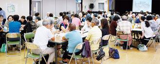77人が参加し、盛況となった「地域交流会」=9月26日、市公民館