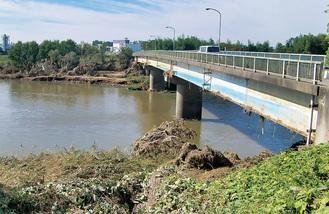 阿武隈川と釈迦堂川の合流付近の様子(座間市提供)