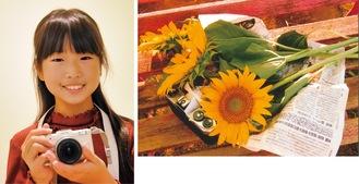愛用のカメラを持つ平岡百合さん(左)と最優秀賞作品「ひとやすみ」