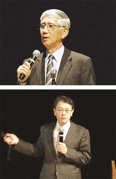 元陸幕長と東大教授、登壇