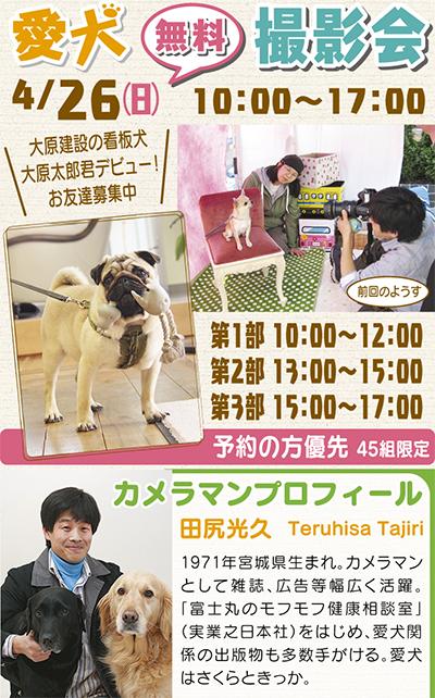 愛犬の無料撮影会、予約開始