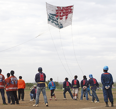 102畳の大凧、高々と