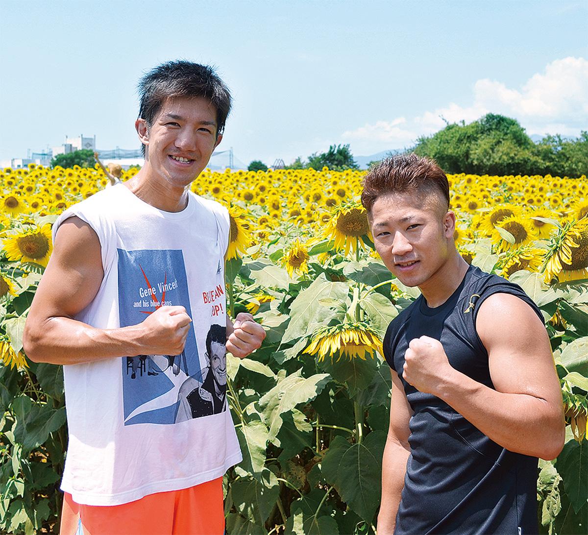 井上拓真選手(右)、従兄弟の浩樹選手。ひまわりまつり栗原会場周辺でランニングしていたところを撮影