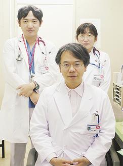 吉竹貴克医師(左)、馬場奈穂子医師(右)池田貴行医師(中央)
