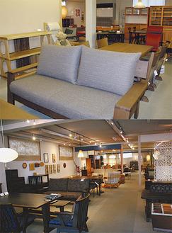 飛騨の新製品をはじめ、温もりあふれる家具が並ぶ