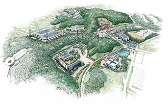 森の里東土地区画整理組合設立準備委員会による区画整理の完成イメージ図。手前が先行開発される約5haのA工区。奥には厚木秦野道路へとつながる厚木環状3号線が通る