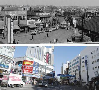 昭和30年代(上)と今の本厚木駅前