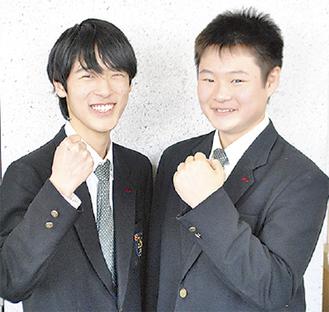 松倉賢汰部長(2年/右)と向田大珠さん(2年)