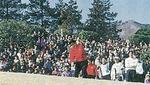 観衆の前でナイスショット