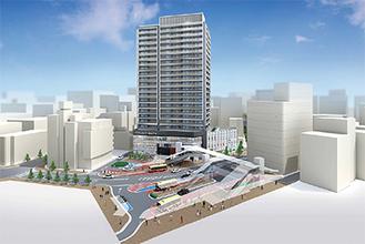完成イメージ(手前が本厚木駅)=本厚木駅南口地区市街地再開発組合提供
