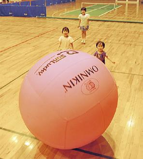 「キンボール」で遊ぶ子どもたち(昨年の様子)