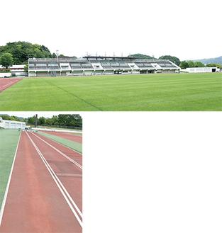 改修される競技場(上)、擦り減って変色した走路