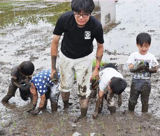 泥だらけになりながら園児と田植えする玉木代表(中央)